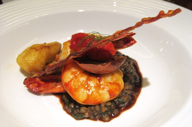 King Prawns with Lentils Ragout