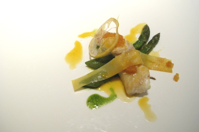 Seared Atlantic Turbot Fillet with Seasonal Green Asparagus and Citrus Condiments.